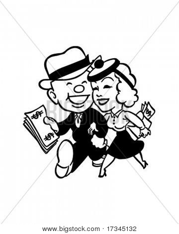 Couple With Money - Retro Clip Art
