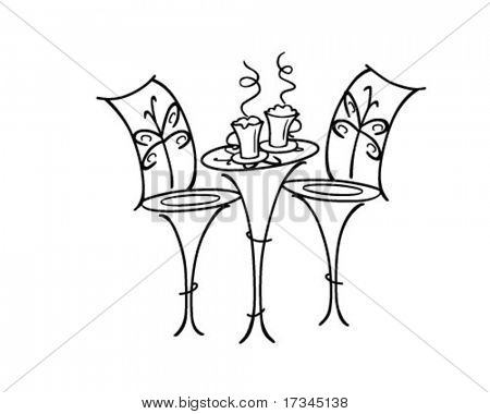 French Cafe Table - Retro Clip Art