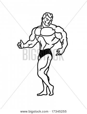 Muscle Man - Retro Clip Art