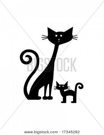 Gatos retro - Clip Art