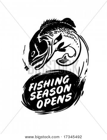 Fishing Season Opens - Header - Retro Clip Art