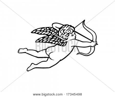 Cupid With Bow And Arrow - Retro Clip Art