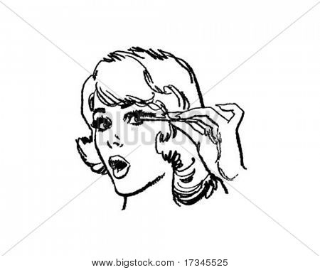 Girl Doing Eyelashes - Retro Clip Art