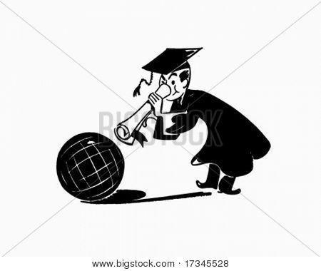 Grad With Globe - Retro Clip Art