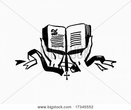 Hands Holding Open Bible - Retro Clip Art