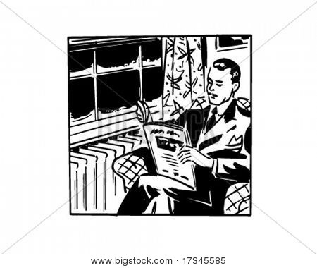Man Reading Magazine - Retro Clip Art