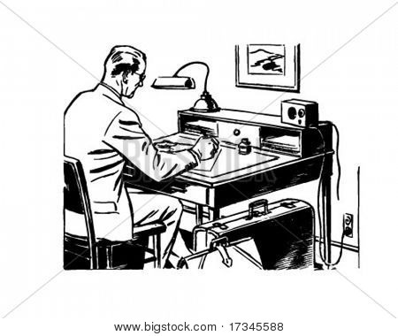 Man Working At Desk - Retro Clip Art