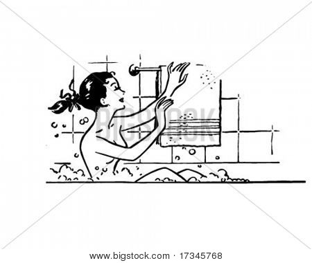 Woman Bathing - Retro Clip Art