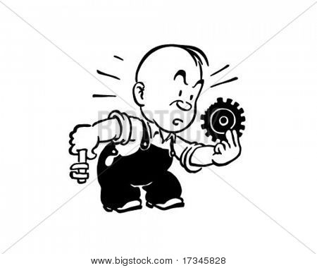 Broken Cog - Retro Clip Art