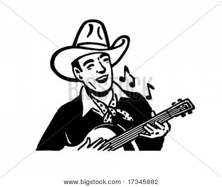 Cowboy Playing Guitar - Retro Clip Art