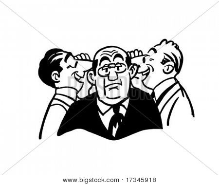 Earful - Boss Getting Two Different Stories - Retro Clip Art