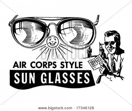 Mens Air Corps Sunglasses - Retro Clip Art