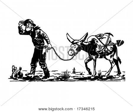 Prospector With Donkey - Retro Clip Art