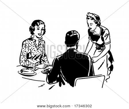 Waitress With Couple - Retro Clip Art