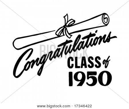 Congratulations Class of 50 - Retro Clip Art