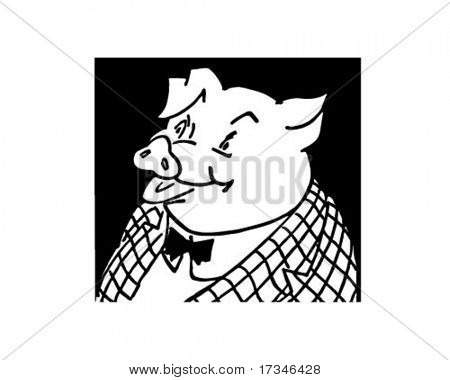 Corporate Pig - Retro Clip Art