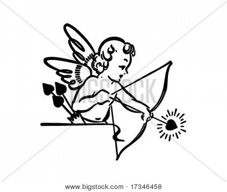 Cupid Shooting Arrow - Retro Clipart