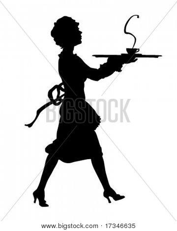Maid Silhouette - Retro Clipart Illustration