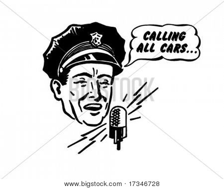 Police Dispatcher - Retro Clipart Illustration