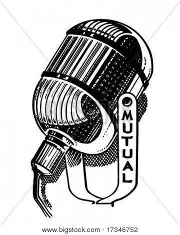 Radio Microphone - Retro Clipart Illustration