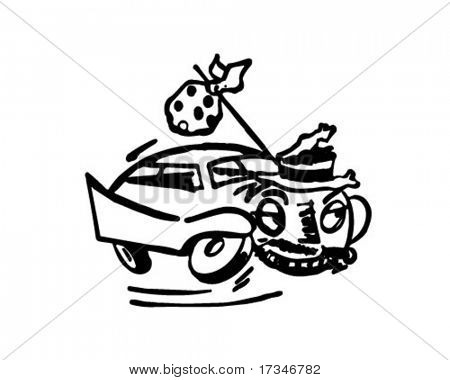 Runaway Car - Retro Clipart Illustration