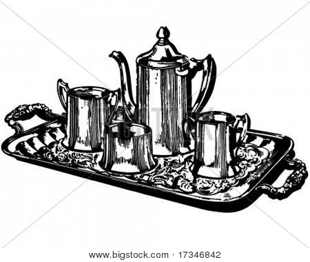 Silver Coffee Service - Retro Clipart Illustration