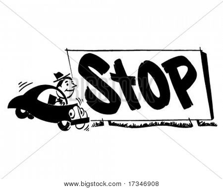 Stop 2 - Ad Header - Retro Clipart Illustration