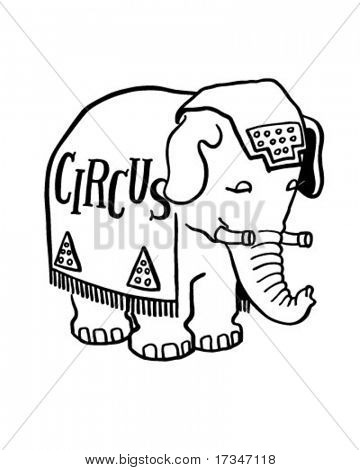 Circus Elephant - Retro Clipart Illustration