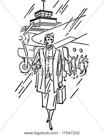 Flight Arrival - Retro Clipart Illustration
