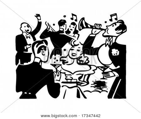 New Year's Party - Retro Clipart Illustration
