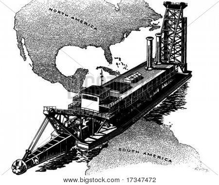 Panama Canal Dredger - Retro Clipart Illustration