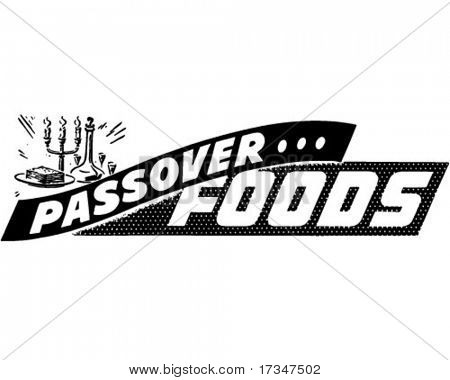 Passover Foods - Ad Banner - Retro Clipart Illustration