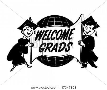 Welcome Grads - Ad Header - Retro Clipart