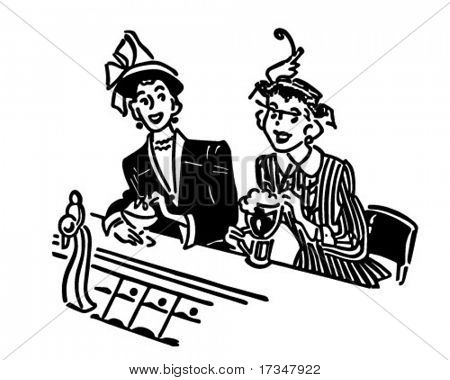Two Gals At The Soda Shop - Retro Clipart Illustration