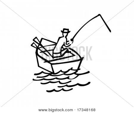 Gone Fishing - Retro Clipart Illustration