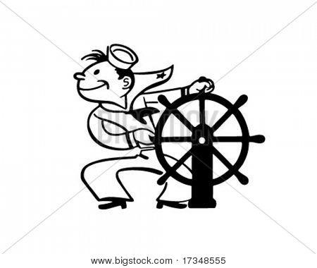 Sailor At Helm - Retro Clipart Illustration