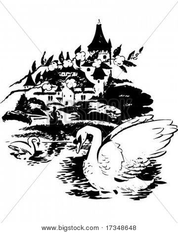 Swans In The Lake - Retro Clipart Illustration