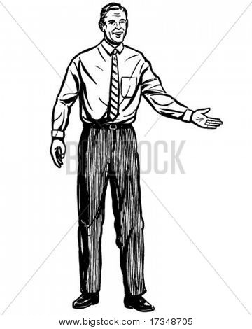 Presentation Man - Retro Clipart Illustration