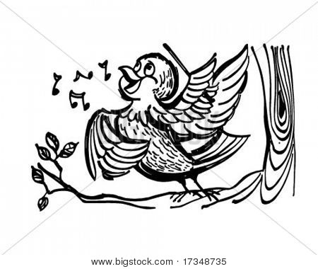Songbird - Retro Clipart Illustration