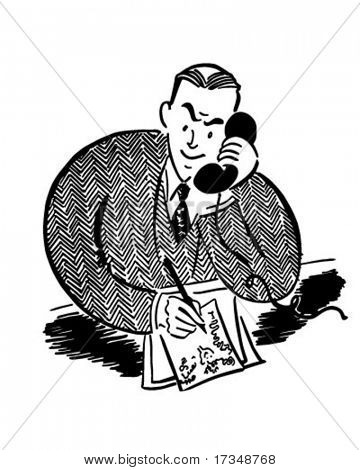 Mann am Telefon 2 - Retro Clipart Illustration
