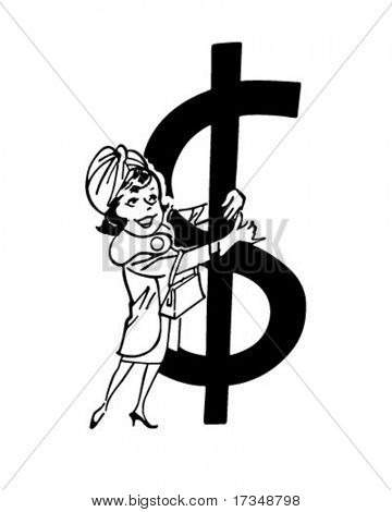 Shopper With Big Dollar Sign - Retro Clipart Illustration