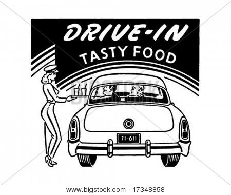 Drive-In Tasty Food - Retro Ad Art - Banner