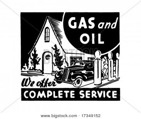 Gas And Oil 2 - Retro Ad Art Banner