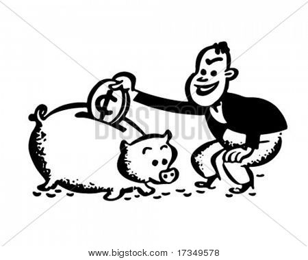 Man With Piggy Bank - Retro Ad Art Illustration