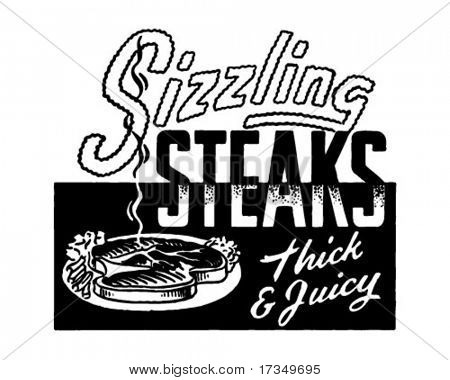 Sizzling Steaks - Retro Ad Art Banner