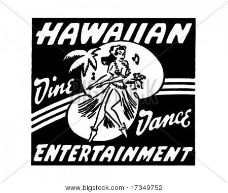 Hawaiian Entertainment - Retro Ad Art Banner