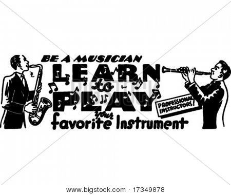 Learn To Play - Retro Ad Art Banner