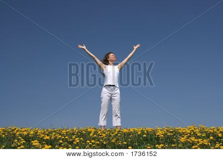 Young Woman Greets The Sun