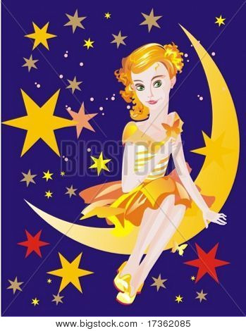 chica-princesa, sentado en la media luna