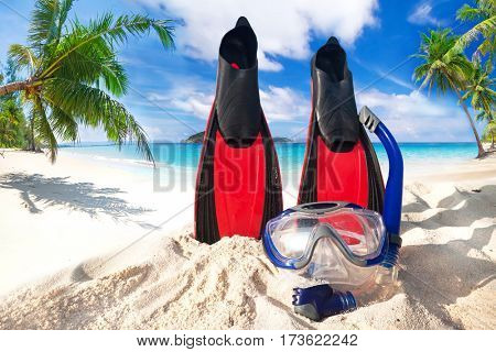 Snorkeling mask and fins on the tropical beach